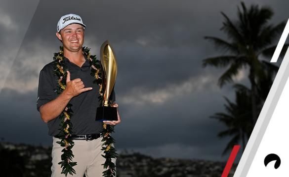 Patton Kizzire poses with the tournament trophy after winning a 6-hole playoff at the Sony Open in Hawaii at Waialae Country Club on January 14, 2018 in Honolulu, Hawaii.