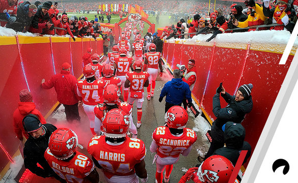 The Kansas City Chiefs exit the tunnel onto the field during player introductions prior to the AFC Divisional round playoff game against the Indianapolis Colts at Arrowhead Stadium on January 12, 2019 in Kansas City, Missouri.