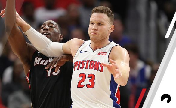 Bam Adebayo #13 of the Miami Heat and Blake Griffin #23 of the Detroit Pistons battle under the basket during the first quarter of the game at Little Caesars Arena on February 3, 2018 in Detroit, Michigan