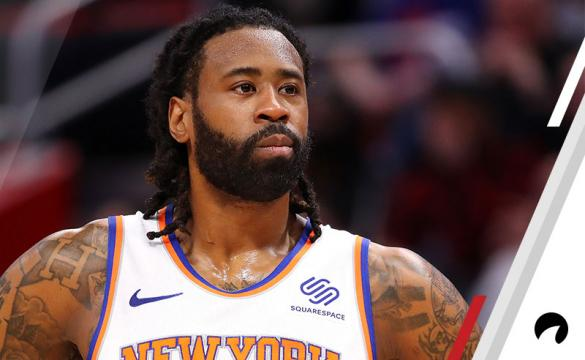 DeAndre Jordan #6 of the New York Knicks looks on while playing the Detroit Pistons at Little Caesars Arena on February 08, 2019 in Detroit, Michigan. Detroit won the game 120-103