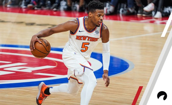 Dennis Smith Jr. #5 of the New York Knicks handles the ball in a game against the Detroit Pistons at Little Caesars Arena on February 08, 2019 in Detroit, Michigan.