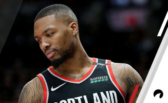 Damian Lillard #0 of the Portland Trail Blazers reacts against the San Antonio Spurs in the third quarter during their game at Moda Center on February 7, 2019 in Portland, Oregon.