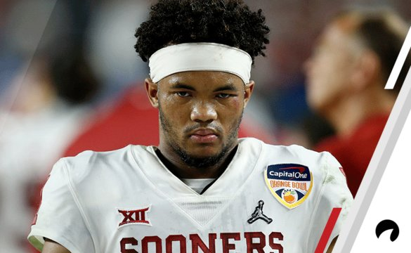 Kyler Murray #1 of the Oklahoma Sooners looks on against the Alabama Crimson Tide during the College Football Playoff Semifinal at the Capital One Orange Bowl at Hard Rock Stadium on December 29, 2018 in Miami, Florida.