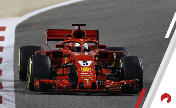 Sebastian Vettel of Germany driving the (5) Scuderia Ferrari SF71H on track during the Bahrain Formula One Grand Prix at Bahrain International Circuit on April 8, 2018 in Bahrain, Bahrain