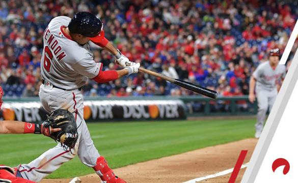 Anthony Rendon #6 of the Washington Nationals hits a three-run double in the fourth inning against the Philadelphia Phillies at Citizens Bank Park on April 10, 2019 in Philadelphia, Pennsylvania