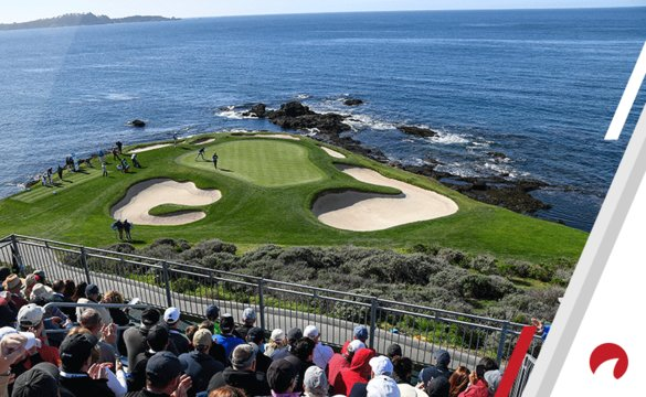 Fans watch the action on the seventh hole during the final round of the AT&T Pebble Beach Pro-Am at Pebble Beach Golf Links, on February 11, 2018 in Pebble Beach, California.