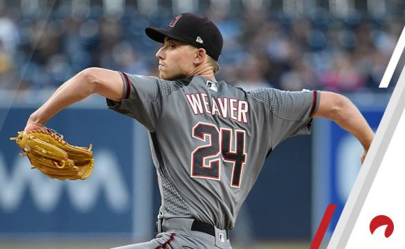 Luke Weaver #24 of the Arizona Diamondbacks pitches during the first inning of a baseball game against the San Diego Padres at Petco Park May 20, 2019 in San Diego, California.