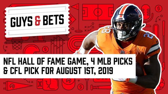 Odds Shark Guys & Bets Joe Osborne Kris Abbott Andrew Avery Denver Broncos Hall of Fame Game NFL Betting Odds Picks Wagers
