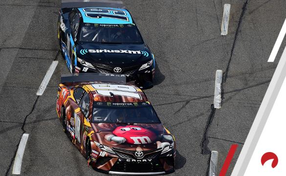 Kyle Busch (bottom) is among the favorites in the Michigan International Speedway Odds.