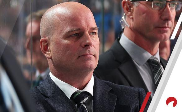 Head coach Jim Montgomery of the Dallas Stars (left) watches the action during an NHL game against the Buffalo Sabres on October 14, 2019 at KeyBank Center in Buffalo, New York. Buffalo won, 4-0.
