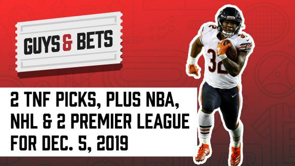 Odds Shark Guys & Bets Joe Osborne Andrew Avery Chalk Ninja NFL Betting Odds Picks Tips Predictions Lines Thursday NIght Football Chicago Bears David Montgomery