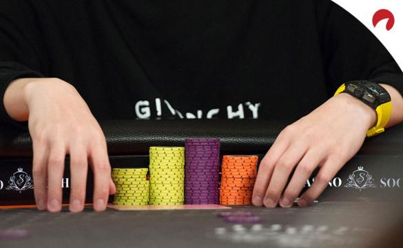 A poker player stacks chips at the Aussie Millions.