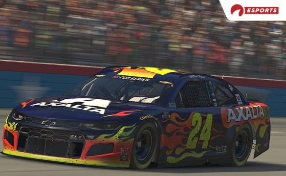 William Byron drives his No. 24 iRacing car