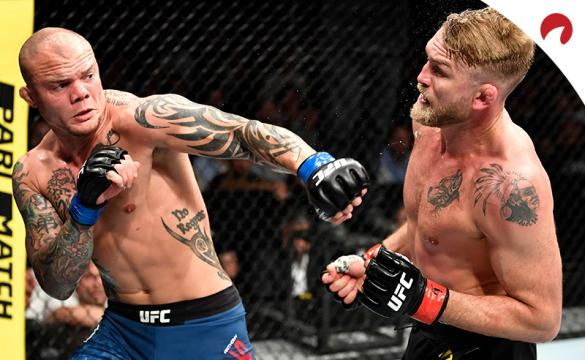Anthony Smith Strikes Alexander Gustafsson in a UFC fight.