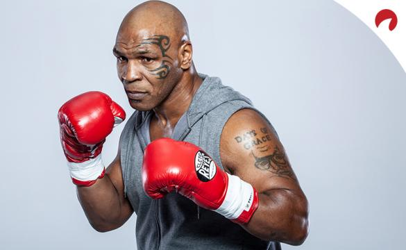Mike Tyson poses in a photoshoot