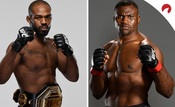 Jon Jones and Francis Ngannou posing for photoshoots