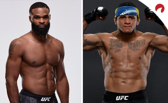Tyron Woodley and Gilbert Burns, who headline UFC on ESPN, pose in a photo shoot