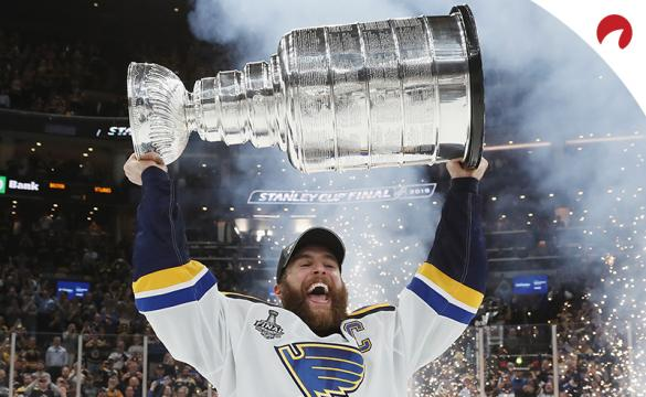 Alex Pietrangelo celebrates with the Stanley Cup