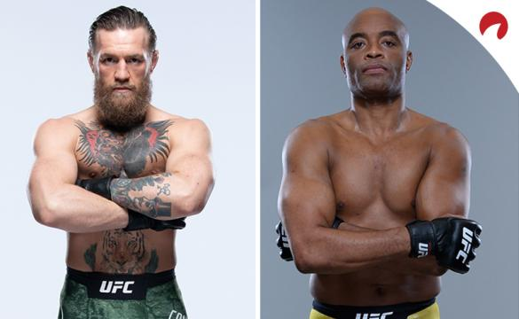 Conor McGregor and Anderson Silva posing for photoshoots