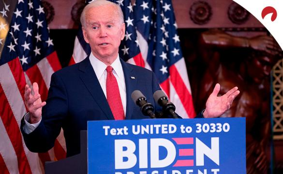 Joe Biden speaking at a podium as he seeks the 2020 Democratic Nomination