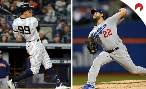 MLB: Aaron Judge swinging a bat and Clayton Kershaw throwing a pitch side-by-side