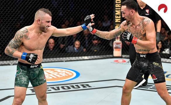 Max Holloway and Alex Volkanovski fighting at UFC 245