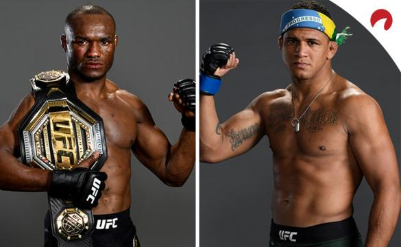 Kamaru Usman and Gilbert Burns posing in photoshoots