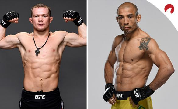 Petr Yan and Jose Aldo, who will fight for bantamweight title, posing in photoshoots