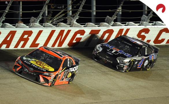 Martin Truex Jr. and Kevin Harvick racing at Darlington Raceway