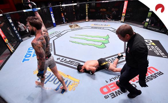 Cody Garbrandt walks away after scoring a knockout at the UFC Apex Center