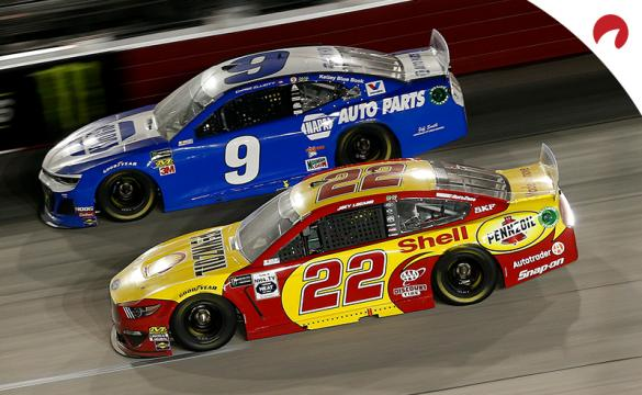 Joey Logano and Chase Elliott Racing side-by-side at Darlington Raceway