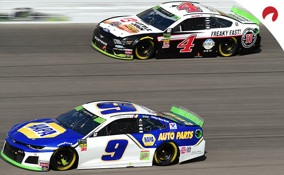 Chase Elliott and Kevin Harvick racing side by side