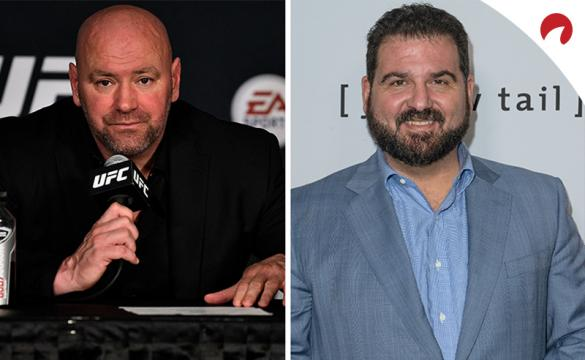 Dana White on the left in a press conference, Dan Le Batard on the right posing