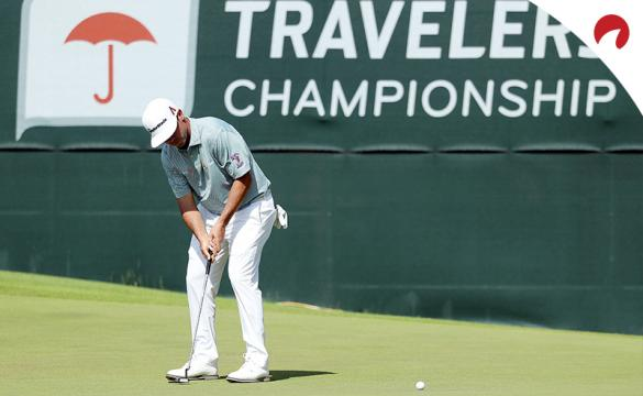 Travelers Championship Betting Odds 2020 Chaz Reavie sinking a putt to win.