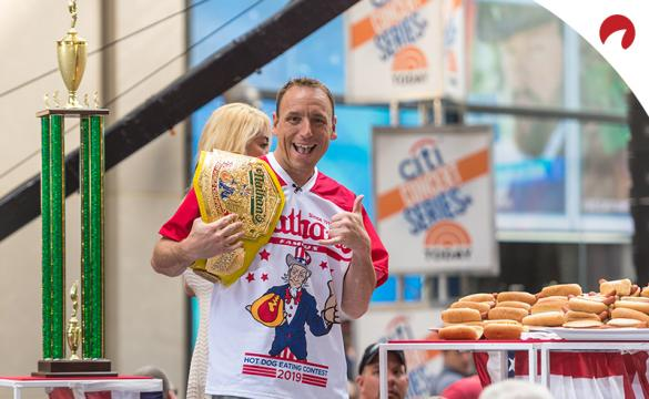 Joey Chestnut celebrating after winning 2019 Nathan's Hot Dog Eating Contest