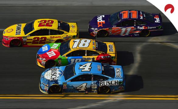 Joey Logano, Denny Hamlin, Kyle Busch and Kevin Harvick racing side by side