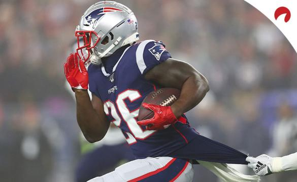 Sony Michel of the New England Patriots carries the ball against the Tennessee Titans.