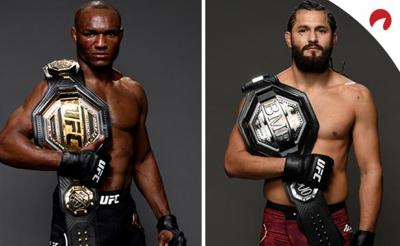 Kamaru Usman and Jorge Masvidal posing in photoshoots