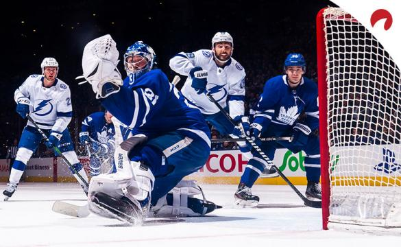 Frederik Andersen #31 of the Toronto Maple Leafs guards the net against the Tampa Bay Lightning.