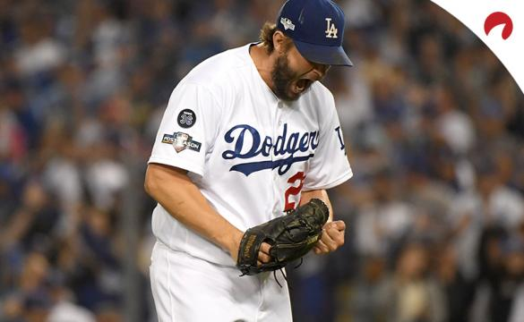 Clayton Kershaw celebrating after striking a player out