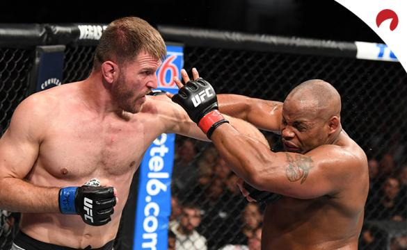 Stipe Miocic and Daniel Cormier fighting at UFC 241. MMA oddsmakers have Cormier as the favorite in the third match between the two fighters.