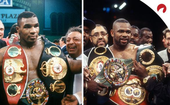 Older photos of Mike Tyson with three championships and Roy Jones Jr. with four