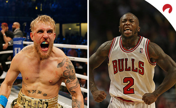 Jake Paul celebrating a win in the boxing ring, while Nate Robinson flexes in a Chicago Bulls jersey