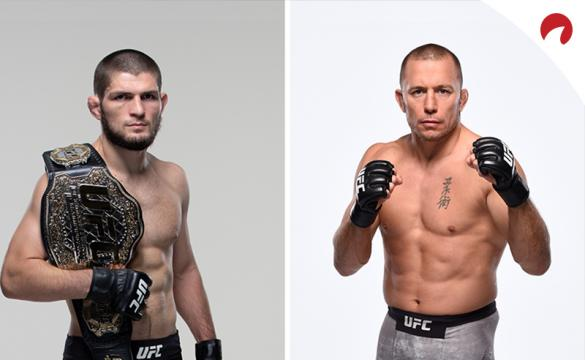 Khabib Nurmagomedov and Georges St. Pierre posing in photoshoots