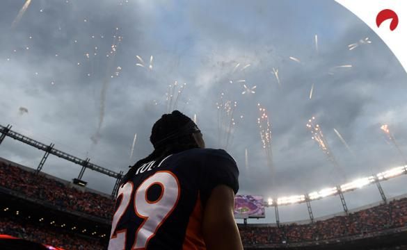 Bradley Roby (29) of the Denver Broncos stands while fireworks are launched at the end of the National Anthem before the game against the Kansas City Chiefs.