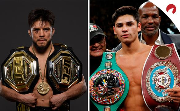 Henry Cejudo posing with his two belts and gold medal, while Ryan Garcia poses with his two boxing belts