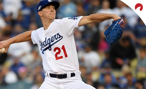 Walker Buehler in the process of throwing a pitch