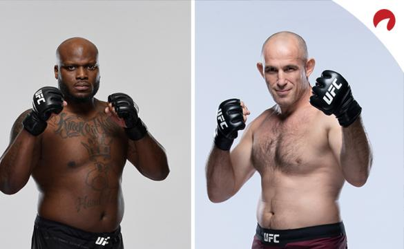 Derrick Lewis and Aleksei Oleinik posing in photoshoots