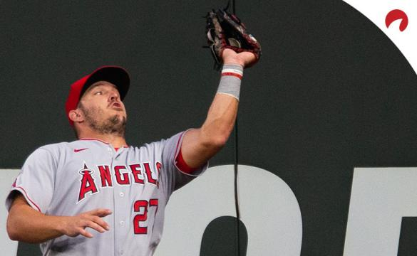 Mike Trout #27 of the Los Angeles Angels catches a pop fly hit by Dylan Moore #25 of the Seattle Mariners in the fifth inning at T-Mobile Park.