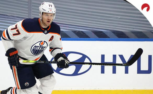 Oscar Klefbom #77 of the Edmonton Oilers skates in the first period of Game Three of the Western Conference Qualification Round at Rogers Place.